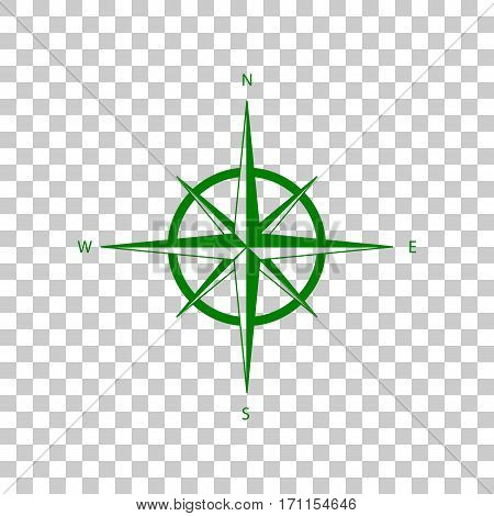 Wind rose sign. Dark green icon on transparent background.