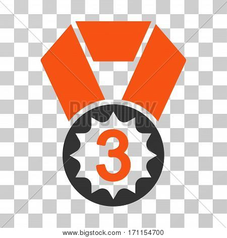 Third Place icon. Vector illustration style is flat iconic bicolor symbol orange and gray colors transparent background. Designed for web and software interfaces.