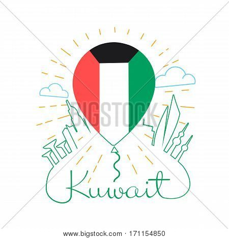 concept travel to Kuwait in the form of a balloon in the background silhouette of the city