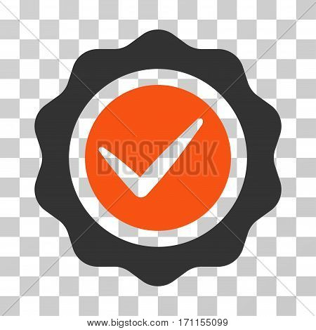Valid Seal icon. Vector illustration style is flat iconic bicolor symbol orange and gray colors transparent background. Designed for web and software interfaces.