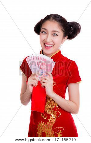 Asian woman with red pocket for chinese new year company pay salary with bonus with yuan money