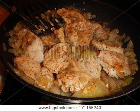 Kitchen Preparation Of A Chicken Meat