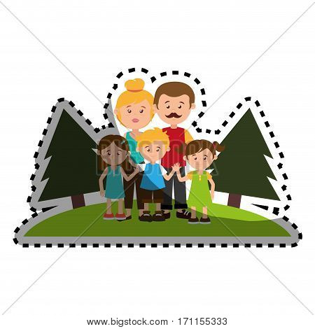 sticker colorful landscape with family nucleus vector illustration