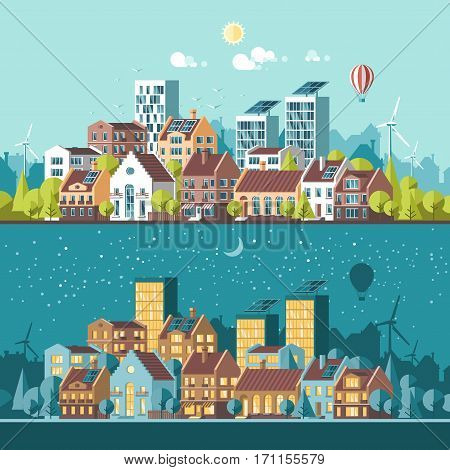Green energy and eco friendly modern city. Day and night landscape. Solar and wind power. Flat vector illustration. 3d style.