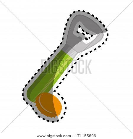sticker bottle opener utensil kitchen with lid vector illustration
