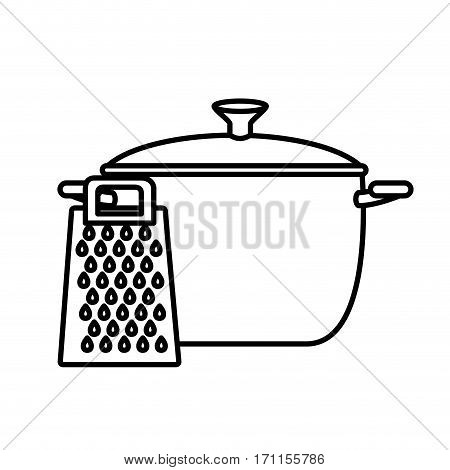 silhouette cooking pot with grater vector illustration