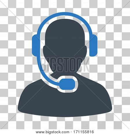 Call Center Operator icon. Vector illustration style is flat iconic bicolor symbol smooth blue colors transparent background. Designed for web and software interfaces.