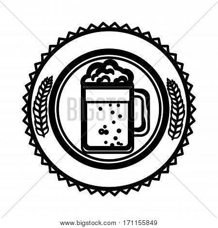 silhouette circular border with leaves and foamy beer glass vector illustration