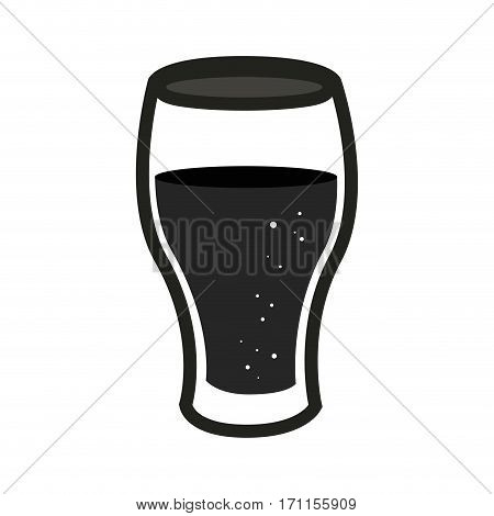 silhouette glass cup of beer vector illustration