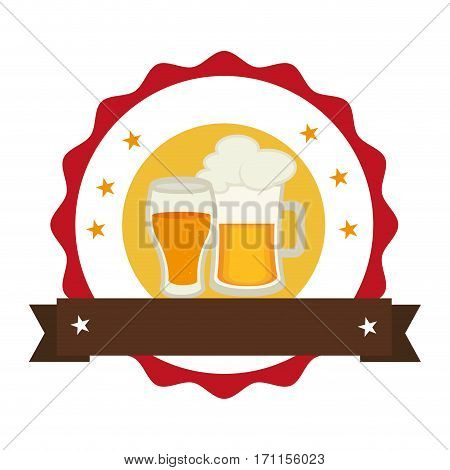 circular stamp with foamy beer jar and glass cup vector illustration