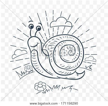 Illustration Of A Snail  Black And White