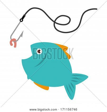colorful fish animal marine with fish hook vector illustration
