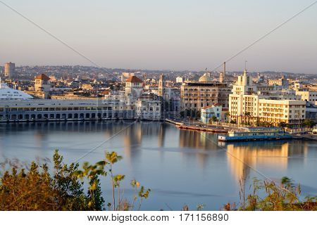 Old Havana at dawn with a view of the bay and several famous landmarks