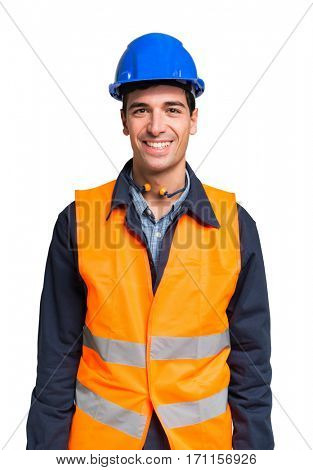 Worker wearing an high visibility vest