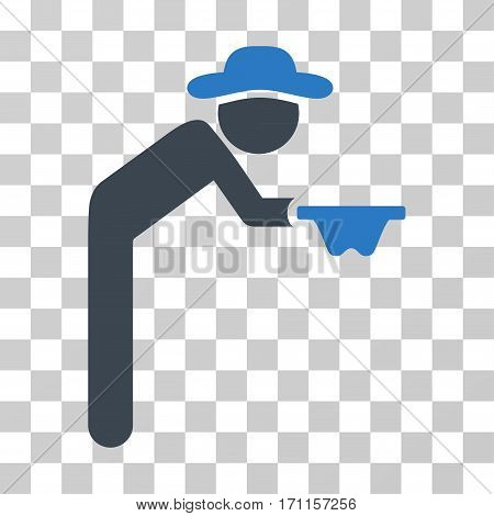 Gentleman Beggar icon. Vector illustration style is flat iconic bicolor symbol smooth blue colors transparent background. Designed for web and software interfaces.