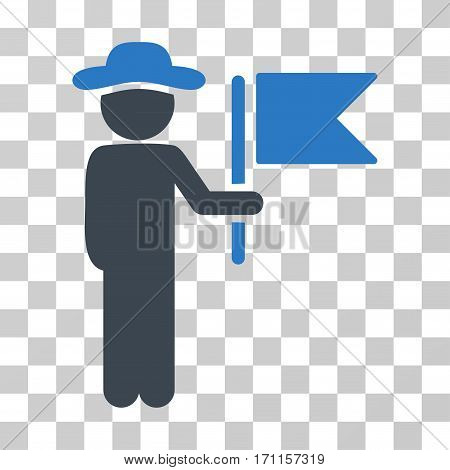 Gentleman Commander icon. Vector illustration style is flat iconic bicolor symbol smooth blue colors transparent background. Designed for web and software interfaces.