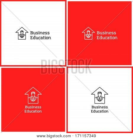 Vector eps logotype or illustration showing business education with business man and arrow up in outline style