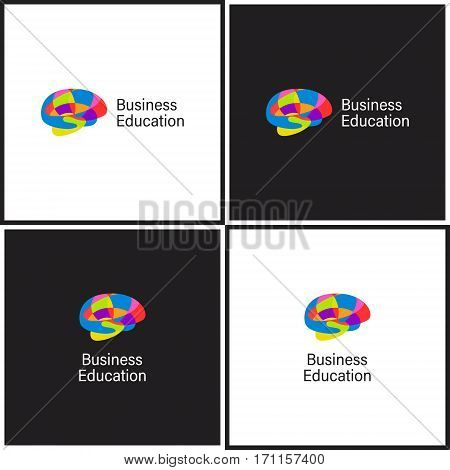 Vector eps logotype or illustration showing business education with brain