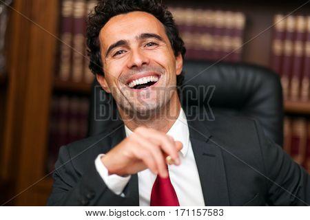 Lawyer portrait in his studio