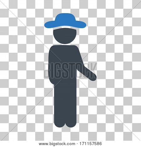 Gentleman Idler icon. Vector illustration style is flat iconic bicolor symbol smooth blue colors transparent background. Designed for web and software interfaces.