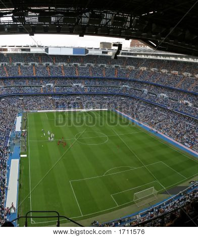 Santiago Bernabeu soccer stadium full of people poster