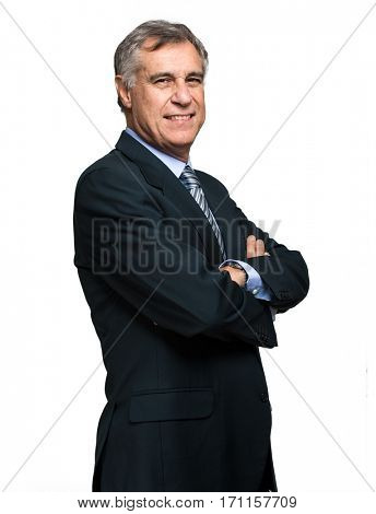 Senior businessman isolated on white