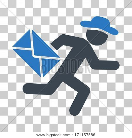 Gentleman Mail Courier icon. Vector illustration style is flat iconic bicolor symbol smooth blue colors transparent background. Designed for web and software interfaces.