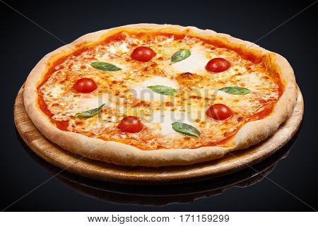 Pizza Donna Margarita on a black background