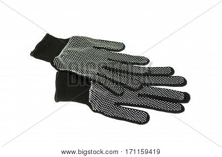 pair worker protective gloves isolated on white background