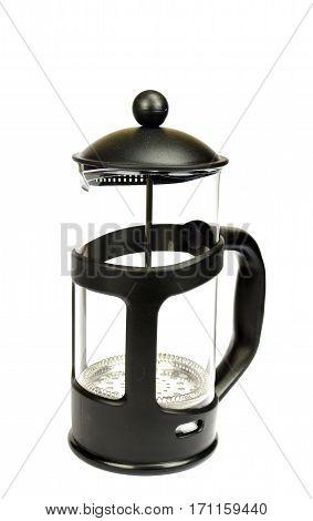 new black teapot isolated on white background