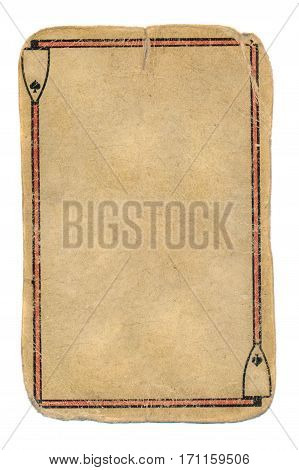 empty used ace of spades playing card grunge used background with line and sign