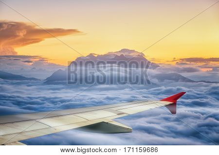Huai Nam Dang National Park with wing of air pland view from windows of airplane travel and transportation concept out door and landscape.