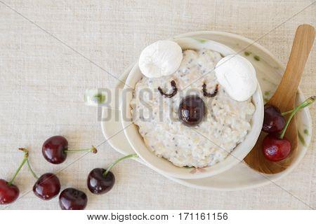 Koala Bear Oatmeal Porridge Breakfast, Fun Food Art For Kids