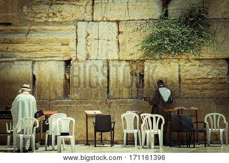 Jerusalem Israel - July 09 . 2014 : Beautiful photo at the Wailing Wall in the Old City of Jerusalem. Praying at the Wailing Wall. Israel.