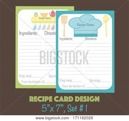 Cute recipe cards vector, recipe card decorated with kitchenware elements