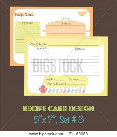 Decorative recipe cards set, cute recipe cards vector