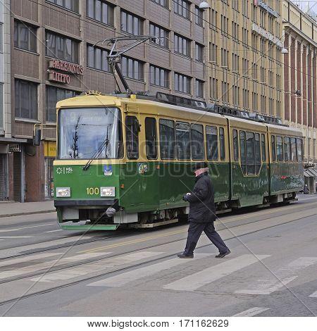 Helsinki, Finland - March, 14, 2016: tram in Helsinki, Finland