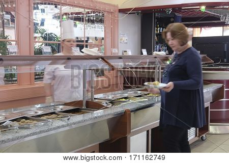 Moscow region, Russia - February, 13, 2017: self-service buffet in a hotel