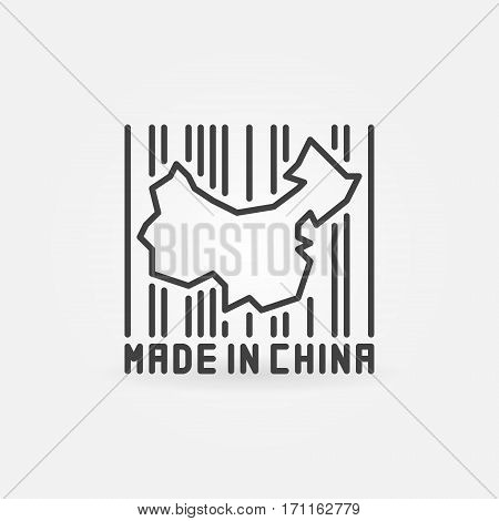 China map in barcode concept icon - vector Made in China symbol or design element