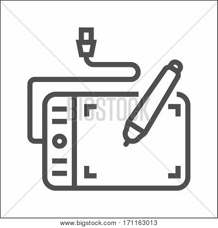 Graphics Tablet Thin Line Vector Icon Isolated on the White Background.