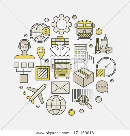 Logistics colorful illustration. Vector round delivery and transportation symbol made with logistic icons