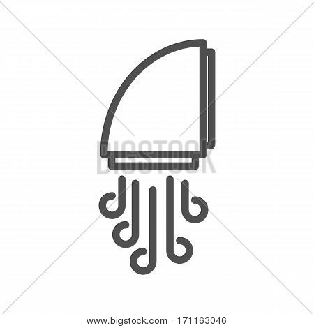 Hand Dryer Thin Line Vector Icon Isolated on the White Background.