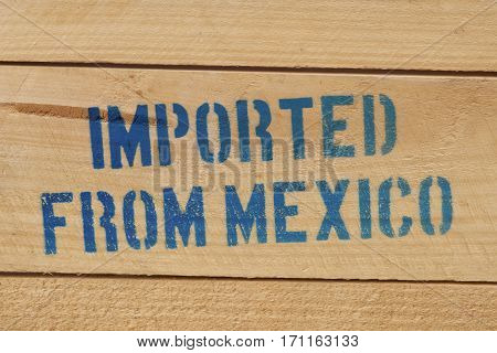 Imported from Mexico signage on a wooden beer case.