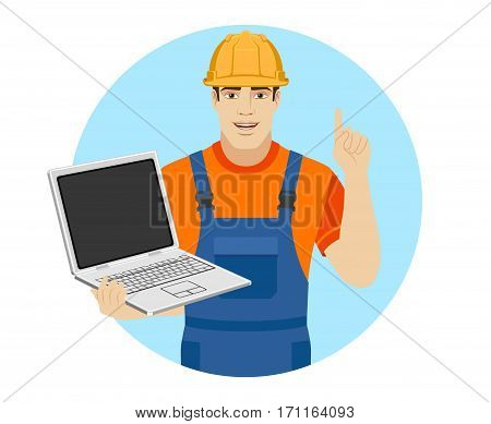 Builder holding a laptop and showing his index finger up. Portrait of builder in a flat style. Vector illustration.