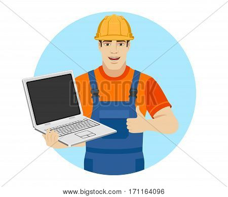 Builder holding a laptop and shows thumb up. Portrait of builder in a flat style. Vector illustration.