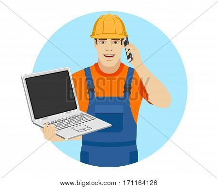 Builder holding a laptop and talking on the mobile phone. Portrait of builder in a flat style. Vector illustration.