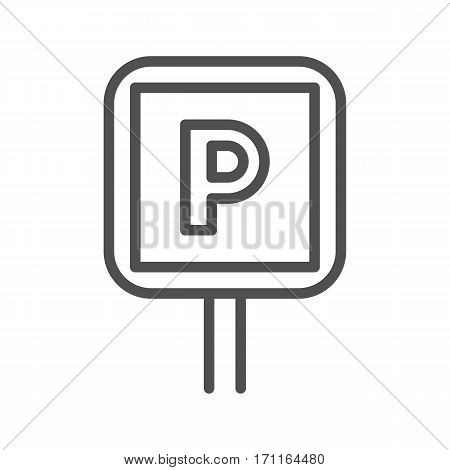 Parking Sign Thin Line Vector Icon Isolated on the White Background.
