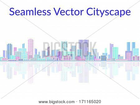 Horizontal Seamless Landscape, Urban Background, Abstract Colorful City on White with Skyscrapers, Reflecting in the Sea. Vector