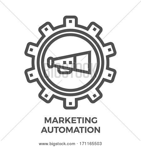 Marketing Automation Thin Line Vector Icon Isolated on the White Background.