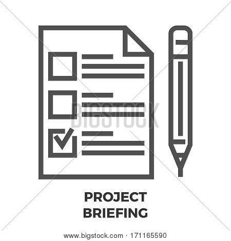 Project Briefing Thin Line Vector Icon Isolated on the White Background.